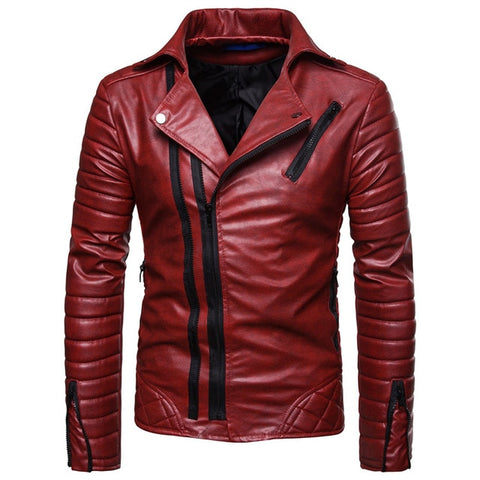 "The ""Riccardo"" Faux Leather Striped Biker Jacket - Maroon"