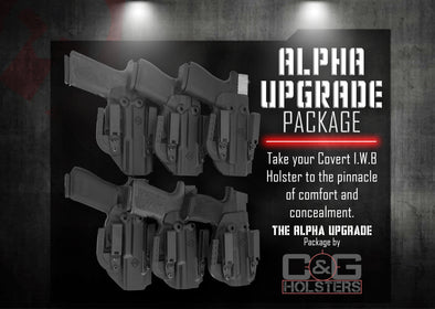 This is the Alpha Upgrade Package which is a Kydex Holster designed and handcrafted by C&G Holsters.   It is an Inside the Waistband holster or IWB holster made by C and G Holsters.