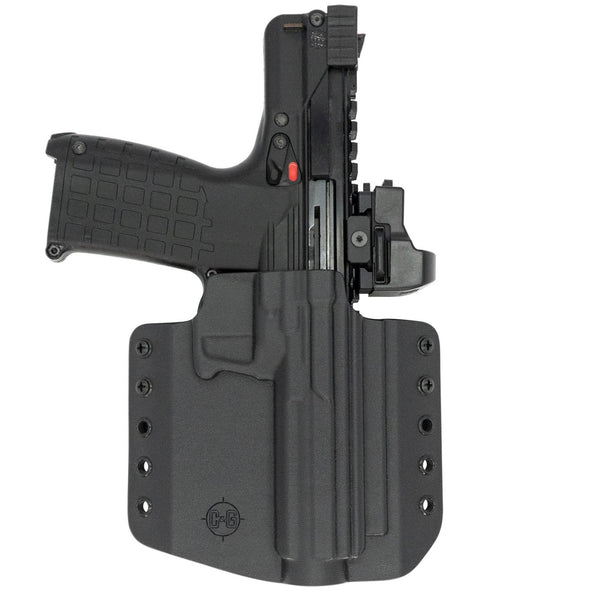 This is the C&G Holsters Kel-tec CP33 outside the waistband holster in right hand, black and with the gun.