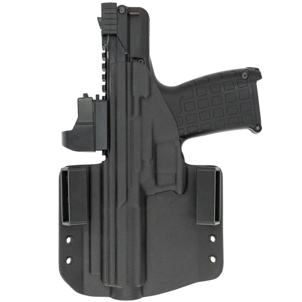 This is the C&G Holsters Kel-tec CP33 outside the waistband holster in right hand, black and with the rear view of the gun.