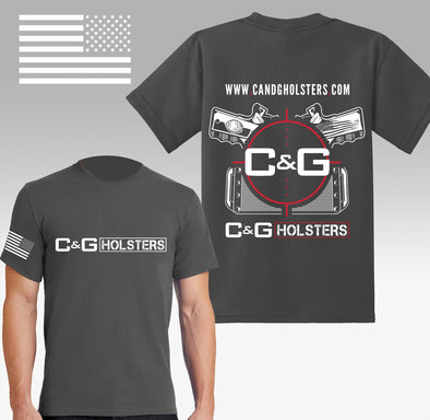 C&G Holsters t-shirt in company colors of grey, white and red.