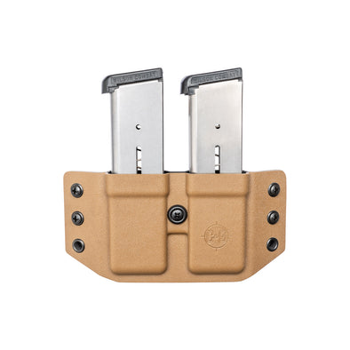 C&G Holsters OWB Covert Kydex Double Mag Holster for 1911 45acp in Coyote Brown Front
