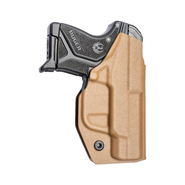 C&G Holsters custom Covert IWB kydex holster for LCPII LCP2 Left Hand in Coyote Brown rear view with gun