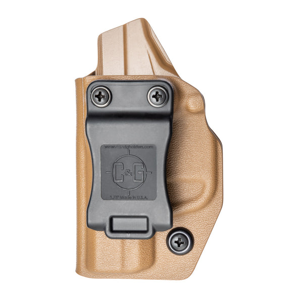 C&G Holsters custom Covert IWB kydex holster for LCPII LCP2 Left Hand in Coyote Brown front view without gun