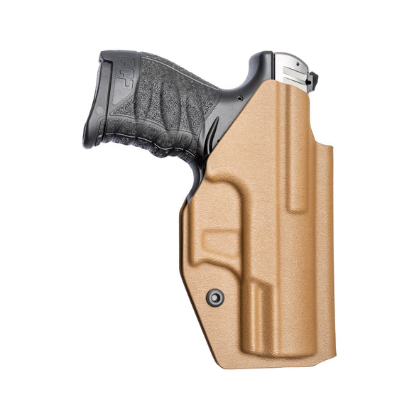 C&G Holsters custom Covert IWB kydex holster for Walther CCP Left Hand in Coyote Brown rear view with gun