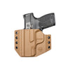 C&G Holsters custom Covert OWB kydex holster for Smith & Wesson M&P Shield 45 in coyote brown front view with gun