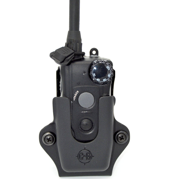 Shown is the C&G Holsters SK9 e-collar holder for the Dogtra ARC.