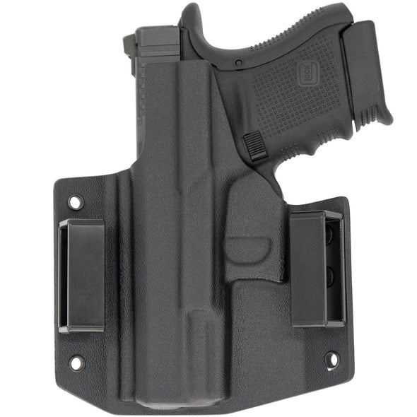 This is the C&G Holsters Covert series outside the waistband holster for the Glock 29, Glock 30 and Glock 30s in right hand black in color and a rear view of the gun.