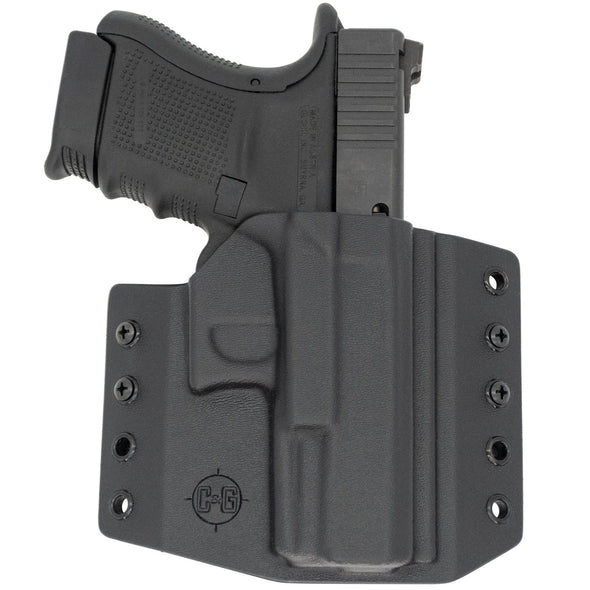 This is the C&G Holsters Covert series outside the waistband holster for the Glock 29, Glock 30 and Glock 30s in right hand black in color with the gun.
