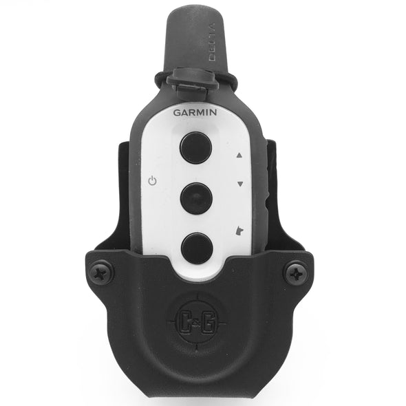 Shown is the C&G Holsters SK9 e-collar holder for the Garmin Delta series.