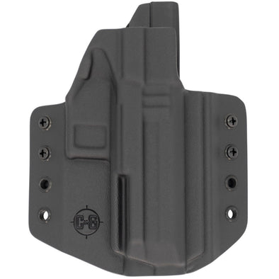 This is a C&G Holsters Covert Series Outside the waistband holster for an IWI Masada 9mm firearm showing the front without the gun.