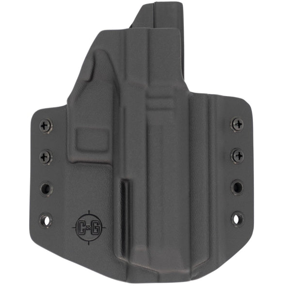 This is a custom C&G Holsters Covert Series Outside the waistband holster for an IWI Masada 9mm firearm showing the front without the gun.