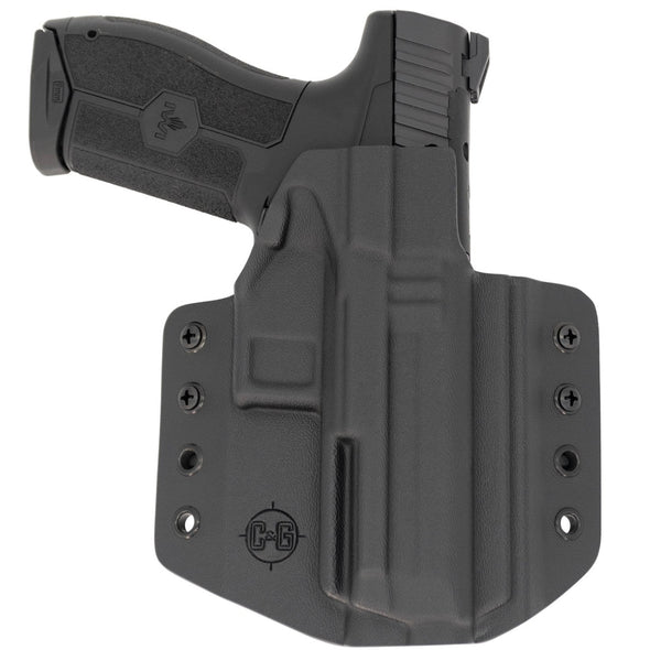 This is a C&G Holsters Covert Series Outside the waistband holster for an IWI Masada 9mm firearm showing the front with the pistol.