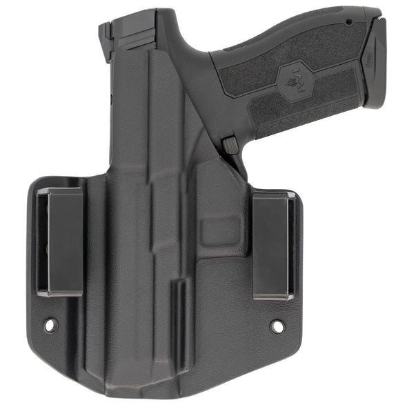 This is a custom C&G Holsters Covert Series Outside the waistband holster for an IWI Masada 9mm firearm showing the rear with the gun.