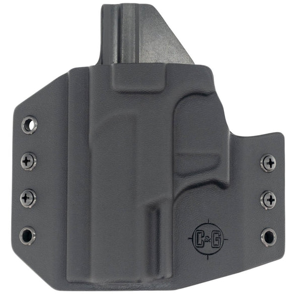 This is a C&G Holsters Covert series outside the waistband for the Walther PK380 in left hand.