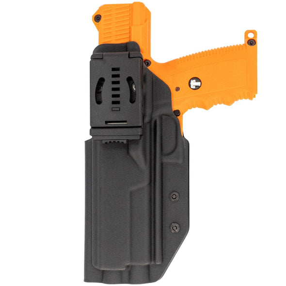 This is the rear of the C&G Holsters oustide the waistband holster for the Tippman TiPX and Misson Less Lethal TRP.