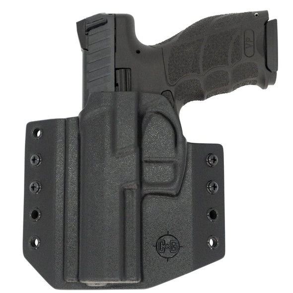 This is the C&G Holsters Covert series Outside the waistband (OWB) right hand holster for the Heckler & Koch (H&K) VP9 in left hand black.