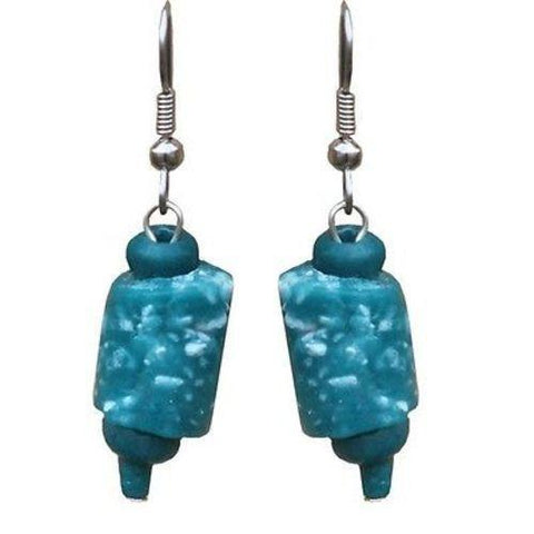 Recycled Glass Marble Earrings in Teal Handmade and Fair Trade