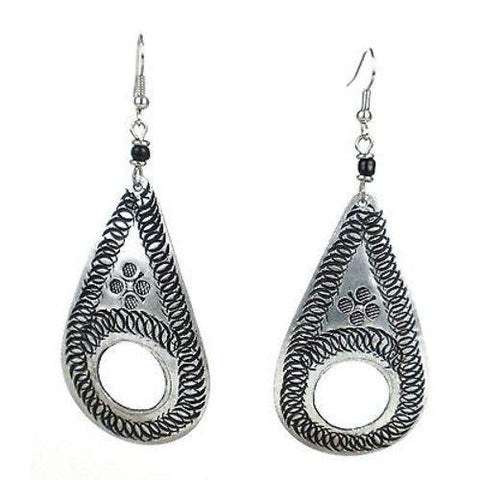 Stamped Recycled Cooking Pot 'Open Teardrop' Earrings Handmade and Fair Trade