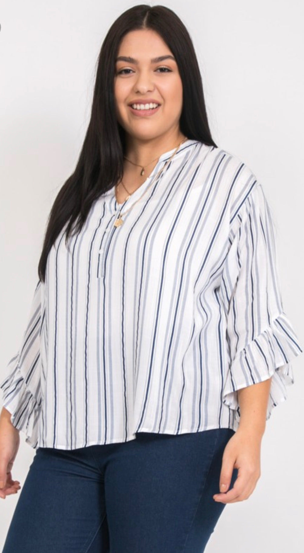 Navy & White Stripe Top with a Ruffel Accent | Cheeky Cactus