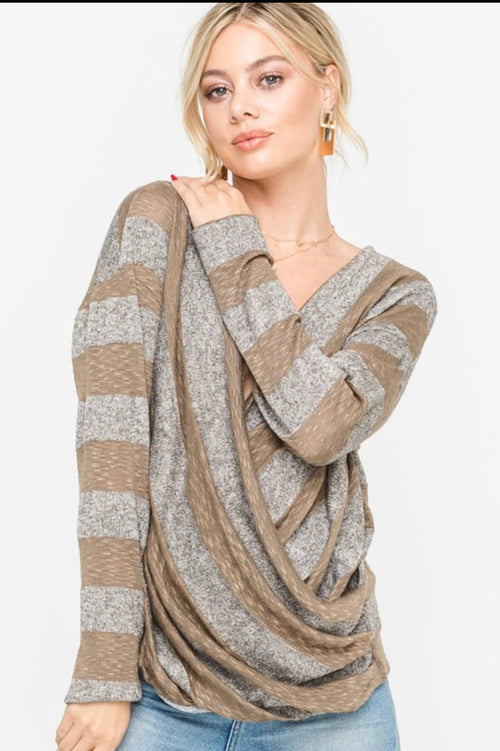 Grey & Brown Striped Top | Cheeky Cactus
