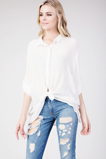 Rayon button down with lace upper back feature | Cheeky Cactus