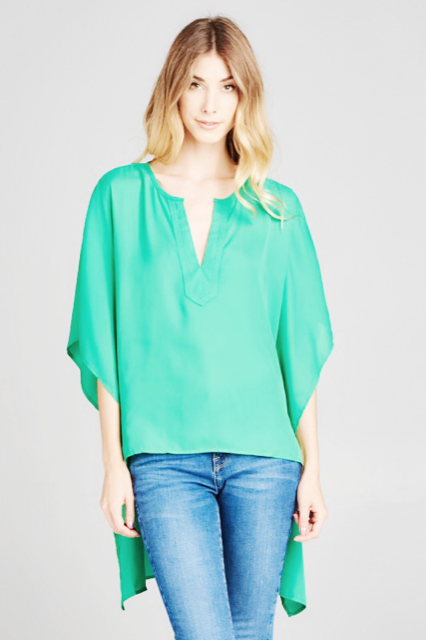Flowy High-Low V-Neck Top | Cheeky Cactus