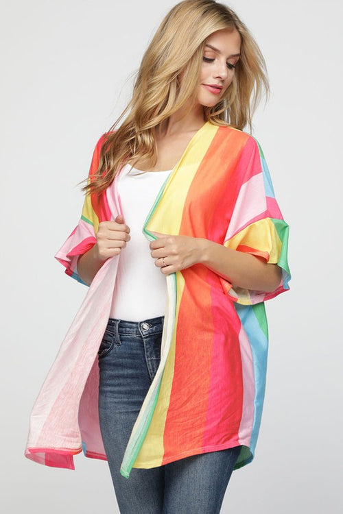 Wide Rainbow Stripe Knit top with Flared Sleeves | Cheeky Cactus