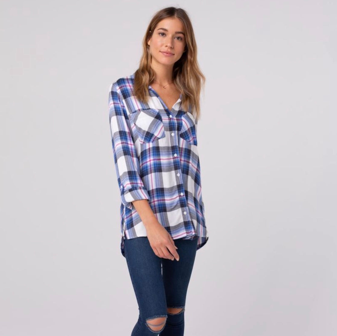 Thread and Supply Stassi plaid flannel print button up | Cheeky Cactus