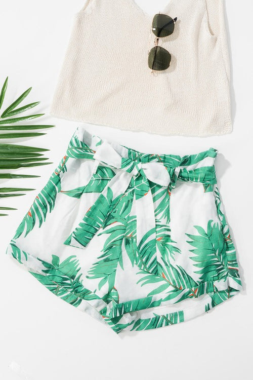 Tropical Print Folded High-Waisted Shorts with Belt | Cheeky Cactus