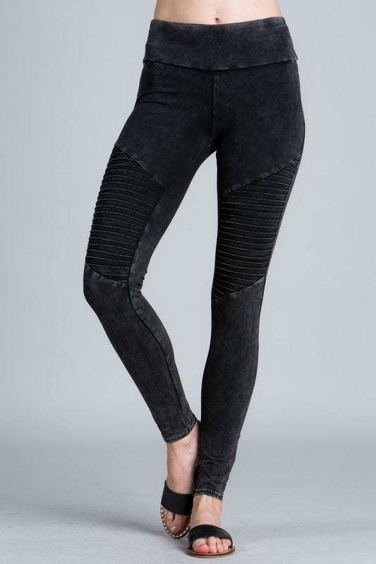 Mineral wash moto leggings with elastic band