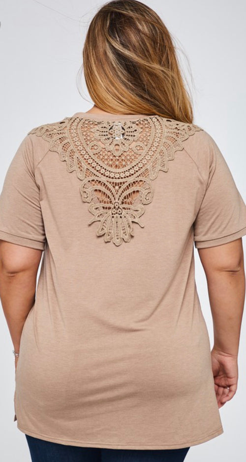 Short Sleeve Round Neck Mocha Top With Back Crotchet Detail | Cheeky Cactus