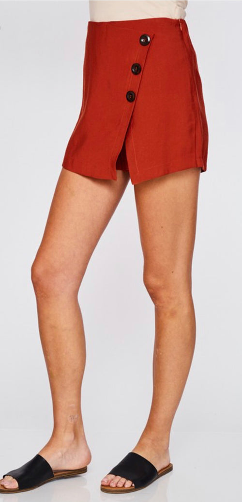 Rust Button Down Solid Skort - Cheeky Cactus