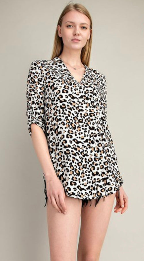 Curvy Leopard Tab-Up Sleeves Woven Top | Cheeky Cactus