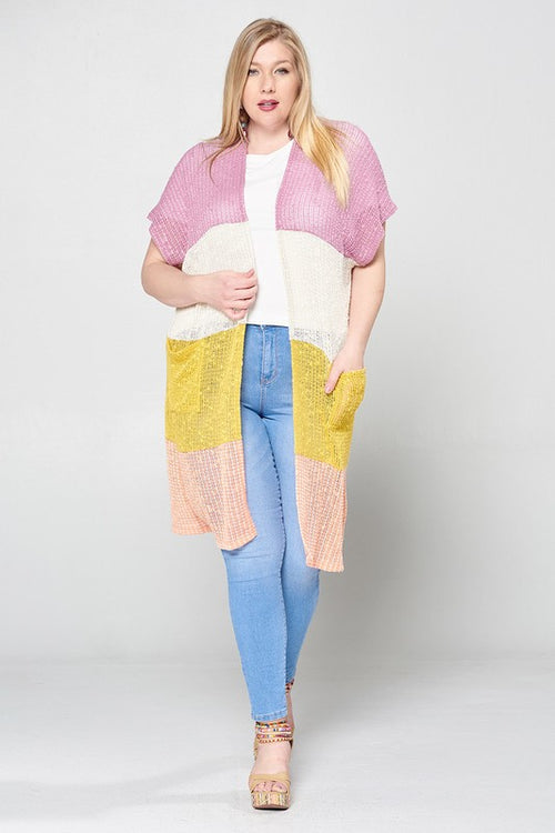 Colorblock Open-Front Cap Sleeve Knit Cardigan | Cheeky Cactus