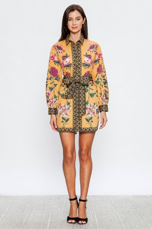 Floral Print Shirt Dress with Fabric Belt | Cheeky Cactus