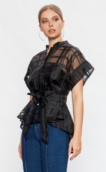 Black Sheer Button up with high-low waist and sheer fabric tie belt | Cheeky Cactus