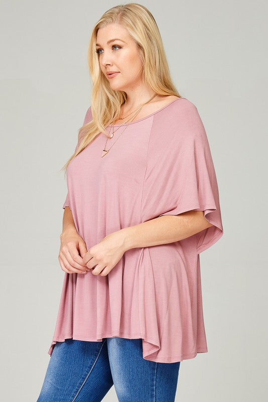 Mauve Solid Jersey Boxy Cut Tunic Top With Flutter Sleeves | Cheeky Cactus