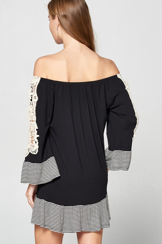 Black Cute Flirty Off the Shoulder Jersey Tunic Dress | Cheeky Cactus
