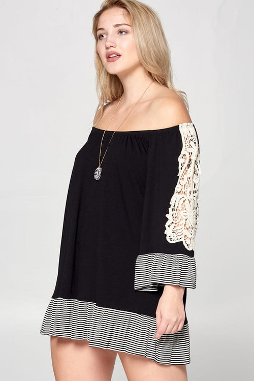 Black Cute Curvy Flirty off the shoulder Jersey Tunic Dress | Cheeky Cactus