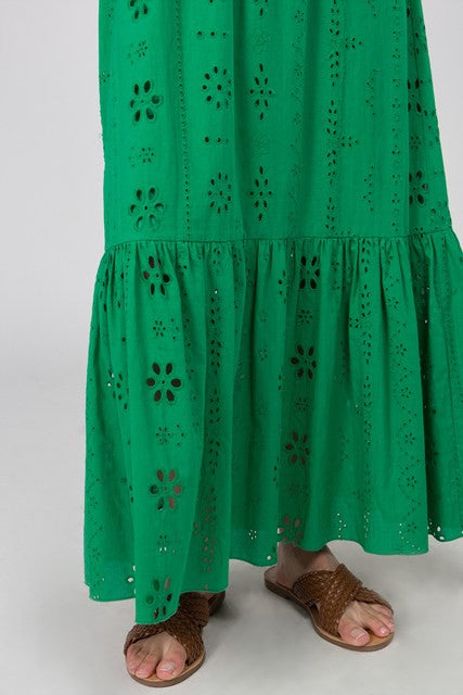 Embroidered Short Sleeve Off The Shoulder Eyelet Maxi Dress | Cheeky Cactus