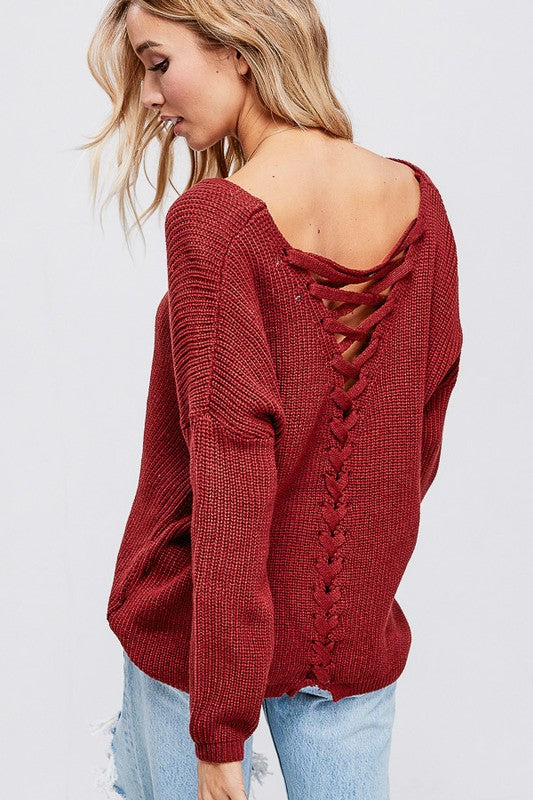 Rust Lace up Sweater | Cheeky Cactus