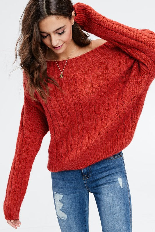Tomato Cable Sweater | Cheeky Cactus