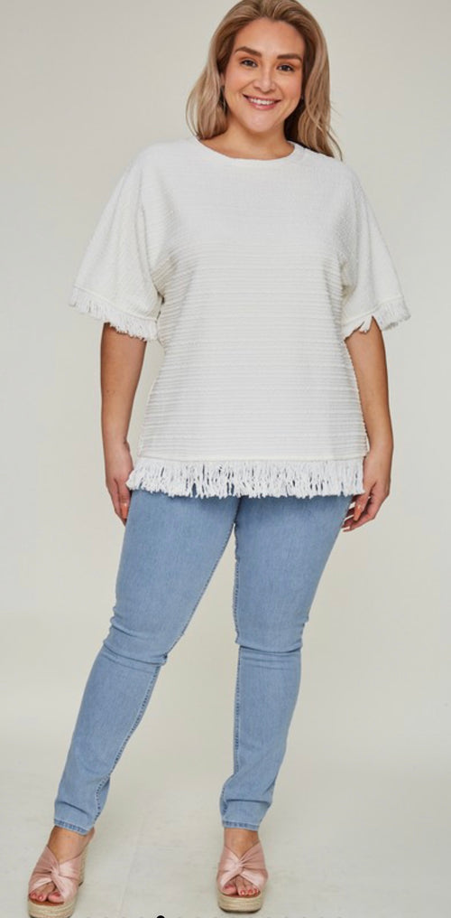 White Fringe Knit Top | Cheeky Cactus