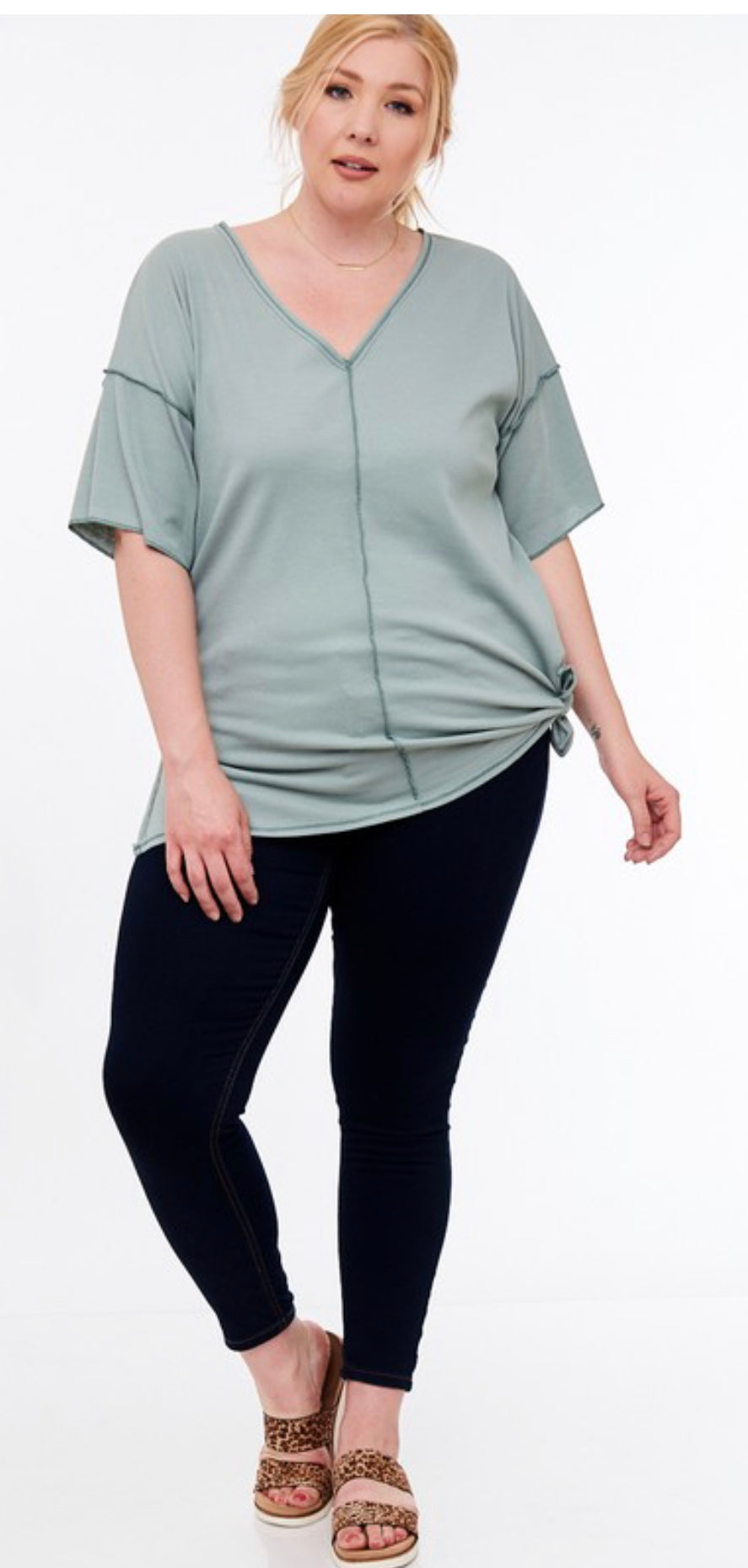Sage Side Slit V-Neck Top | Cheeky Cactus