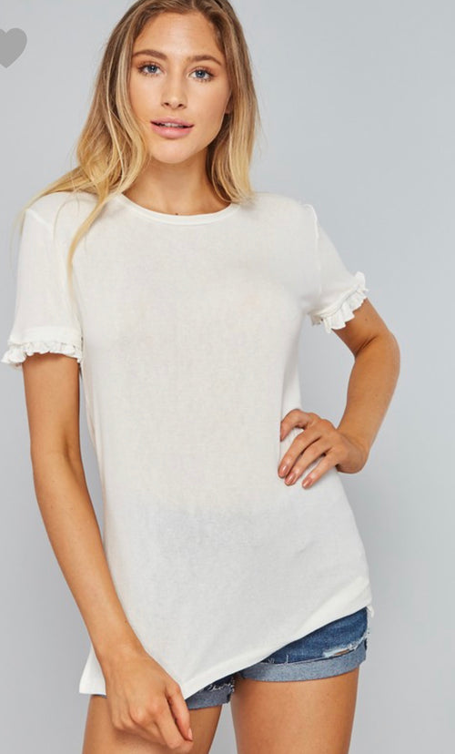 White Ruffled Round Neck T-Shirt