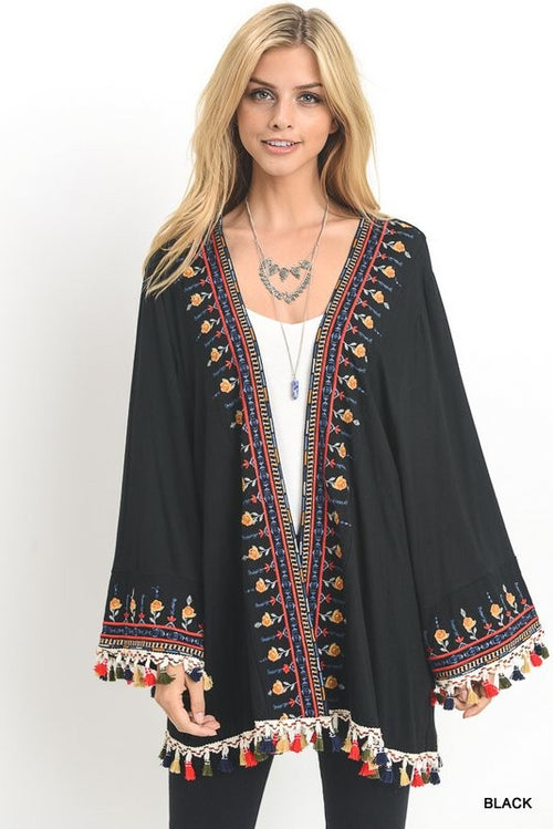 Solid cardigan with embroidered detail and tassel fringe - Cheeky Cactus