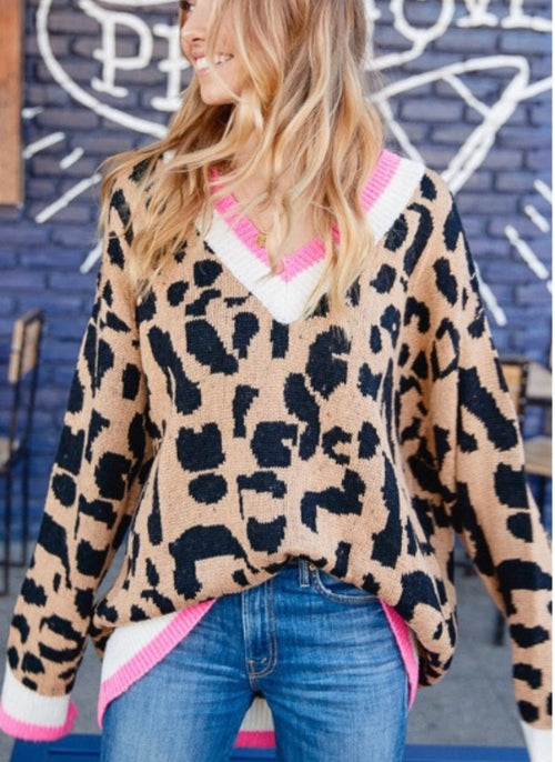 Bubble Gum Pink Leopard Sweater | Cheeky Cactus