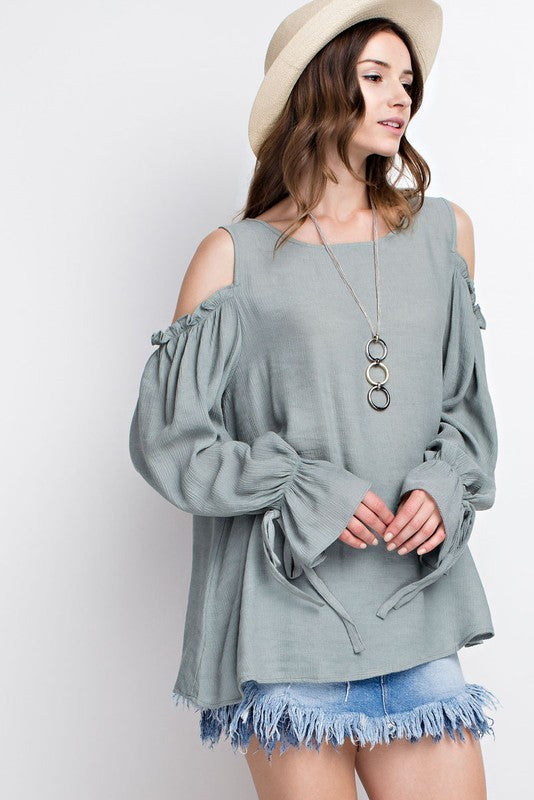 Basil Cold Shoulder Textured Top | Cheeky Cactus