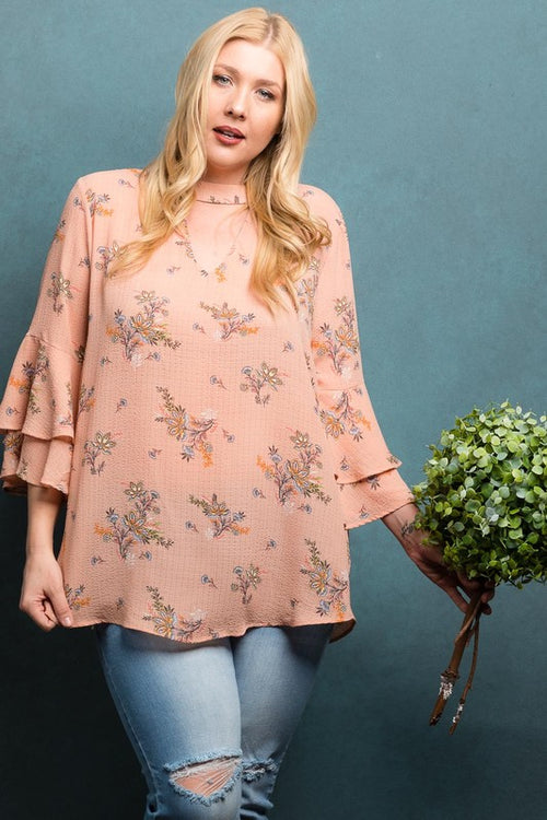 Plus size floral top with fuffle sleeve and a key hole neck line | Cheeky Cactus